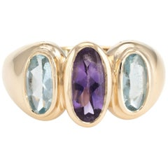 Vintage 3 Stone Blue Topaz Amethyst Cocktail Ring 14 Karat Gold Estate Jewelry