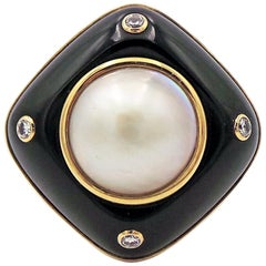 Mabe Pearl, Onyx and Diamond 14k Gold Cocktail Ring