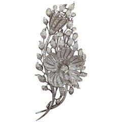 Italian Art Deco Flower Diamond White Gold Brooch