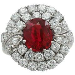 Vintage 2.82 Carat Ruby and 2.48 Carat Diamond Platinum Cluster Ring Circa 1950