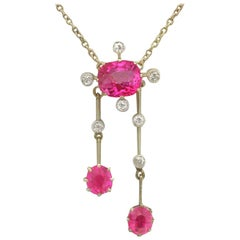Antique 2.29 Carat Ruby and Diamond Yellow Gold Necklace Circa 1900