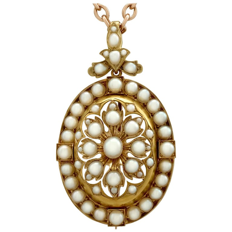 Antique Victorian Seed Pearl and Yellow Gold Pendant Brooch For Sale