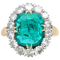 Vintage 1.74 Carat Emerald and Diamond Yellow Gold Cluster Ring Circa 1950