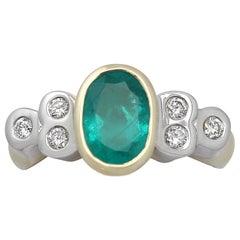 1.43 Carat Emerald & Diamond Yellow Gold Cocktail Ring