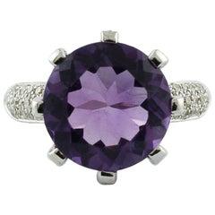 8.20 Carat Amethyst, White Diamonds 18 Karat White Gold Cluster Ring