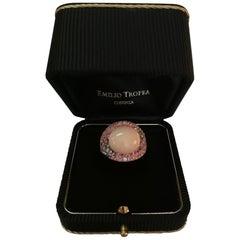 Silvio Ancora Coral Pink Sapphires Brown Diamonds Rose Gold Cocktail Ring