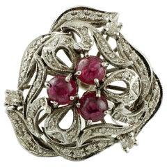 2.43 Carat Rubies, 0.86 Carat White Diamonds, White Gold Fashion Design Ring