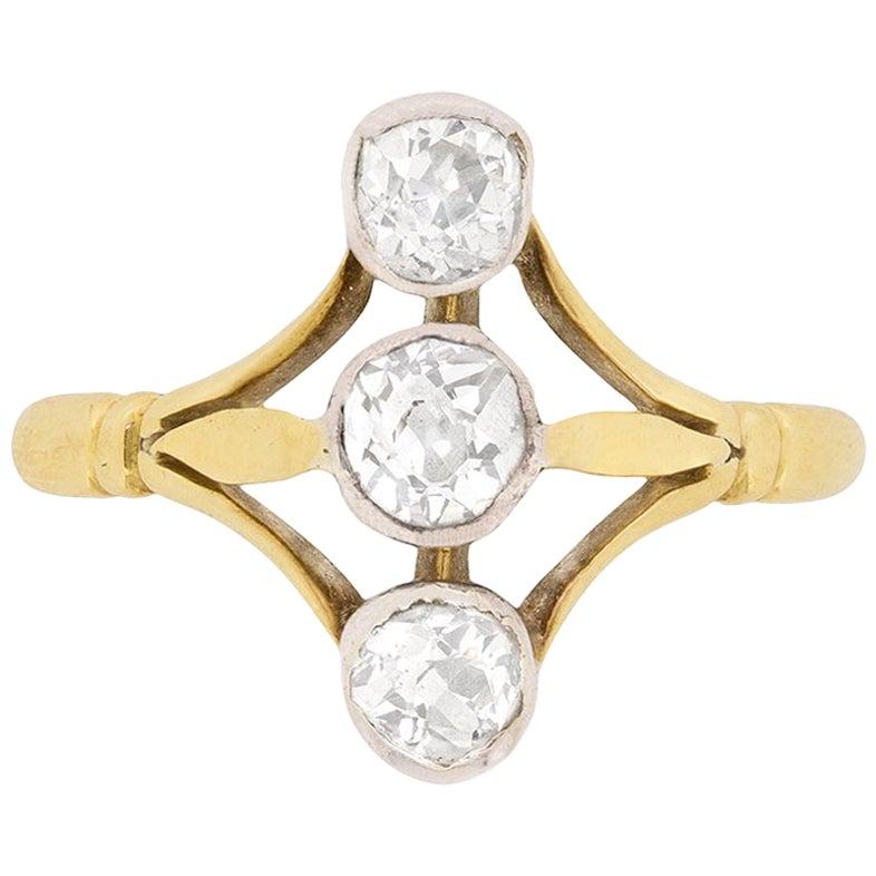 Victorian Diamond Vertical Three-Stone Diamond Ring, circa 1900s