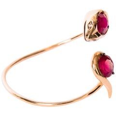 18K Rose Gold, Garnets and Diamonds Snake Bracelet by Frederique Berman