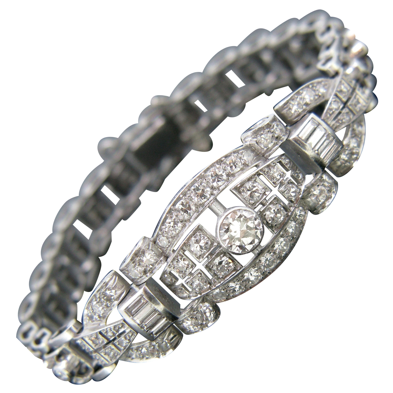Art Deco Diamond White Gold Platinum Bracelet