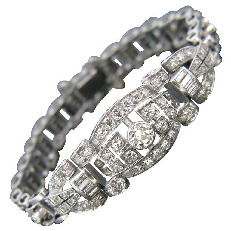 Art Deco Diamond White Gold Platinum Bracelet For Sale