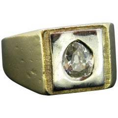 Retro Signet Pear Shaped Diamond Yellow White Gold Ring