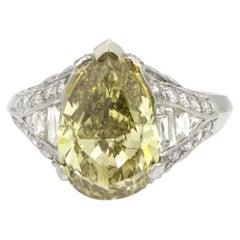 GIA Certified 3.51 Carat Fancy Dark Gray Greenish Yellow Pear Shape Diamond Ring