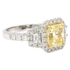 GIA Certified 2.39 Carat Radiant Fancy Diamond Ring Set in a 18 Karat Gold Ring