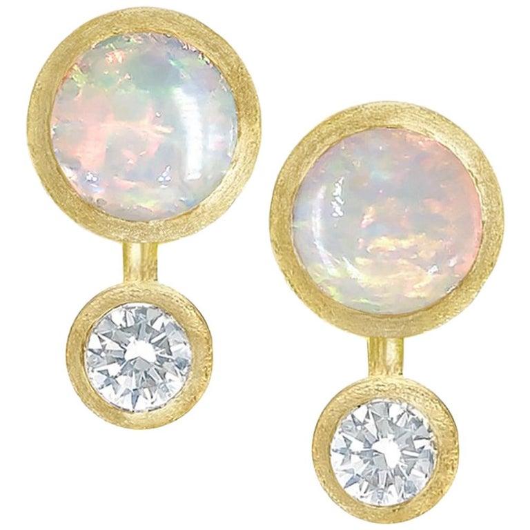Australian Opal White Diamond Satin Gold Handmade Stud Earrings For Sale