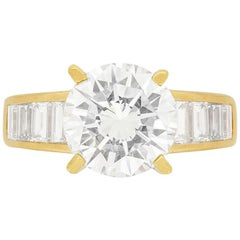 Vintage 3.21 Carat Diamond Solitaire with Baguette Rings, circa 1980s
