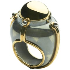 Ring Scaphandre Silver Onyx Diamonds by Elie Top