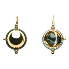 Earrings Sphere Gold Onyx Diamonds by Elie Top