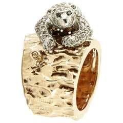 2.12 Carat White and Black Diamonds Rose Gold and Silver Trunk and Bear Ring