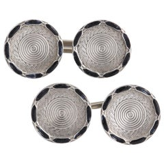 American Art Deco Sterling Silver and Black Guilloche Enamel Cufflinks