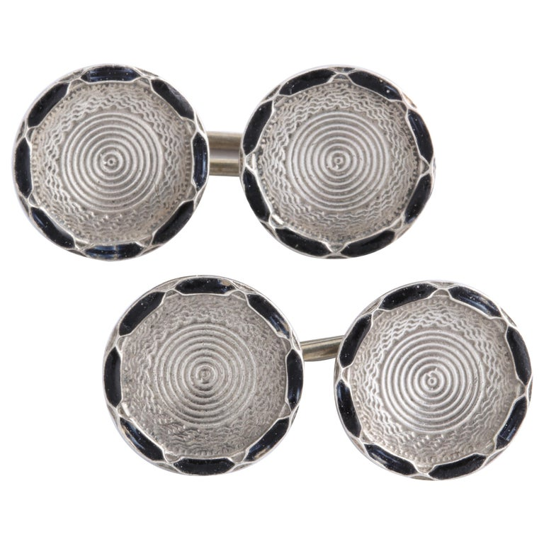 American Art Deco Sterling Silver and Black Guilloche Enamel Cufflinks For Sale