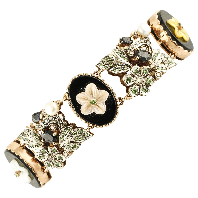 Diamonds, Sapphires, Tsavorites,Mother-of-Pearl, Pearl Gold Silver Bracelet