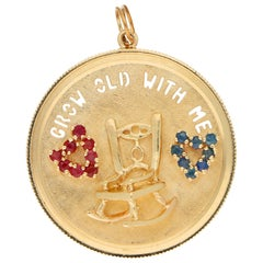 Grow Old with Me Ruby and Sapphire Medallion Pendant Rose Gold