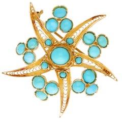 Turquoise Starfish Brooch in 18 Karat Yellow Gold