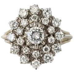 French 1960s Retro 18 Karat White Gold Diamond Cluster Ring
