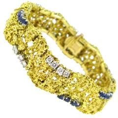 Boucheron Sapphire Diamond Textured Yellow Gold Platinum Bracelet