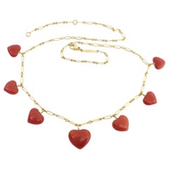 Petronilla Italian Natural Red Coral Heart Necklace Handmade 18 Karat Gold