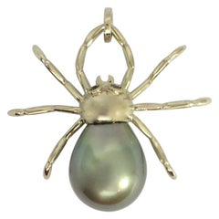 Spider Black Diamond South Sea Pearl Gold 18 Karat Pendant or Necklace