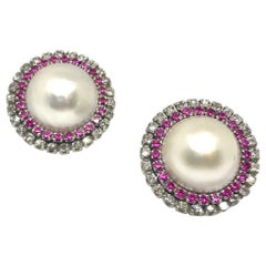 1950s Mabe Pearl White Diamond Rubies Stud Earring