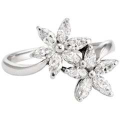 Estate Fortunoff Moi et Toi 1ct Diamond Ring Flowers 18k White Gold Fine Jewelry