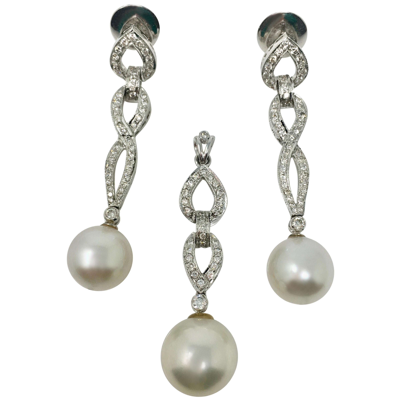 1.68 Carat White Diamond And White Pearl Three Piece Pendant Set In 18K Gold