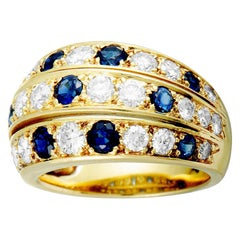 Diamond and Sapphire Yellow Gold Band Ring