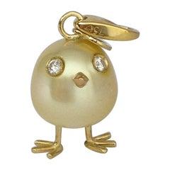 Baby Chick Australian Pearl Diamond Yellow 18 Karat Gold Pendant/Necklace