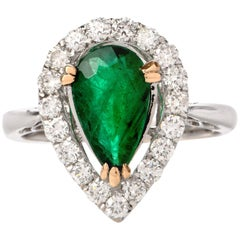 Pear Emerald Diamond Halo 18 Karat Gold Ring