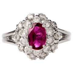 Ruby Diamond Halo Platinum Cocktail Ring