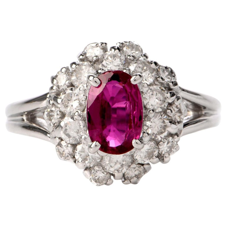 Ruby Diamond Halo Platinum Cocktail Ring For Sale