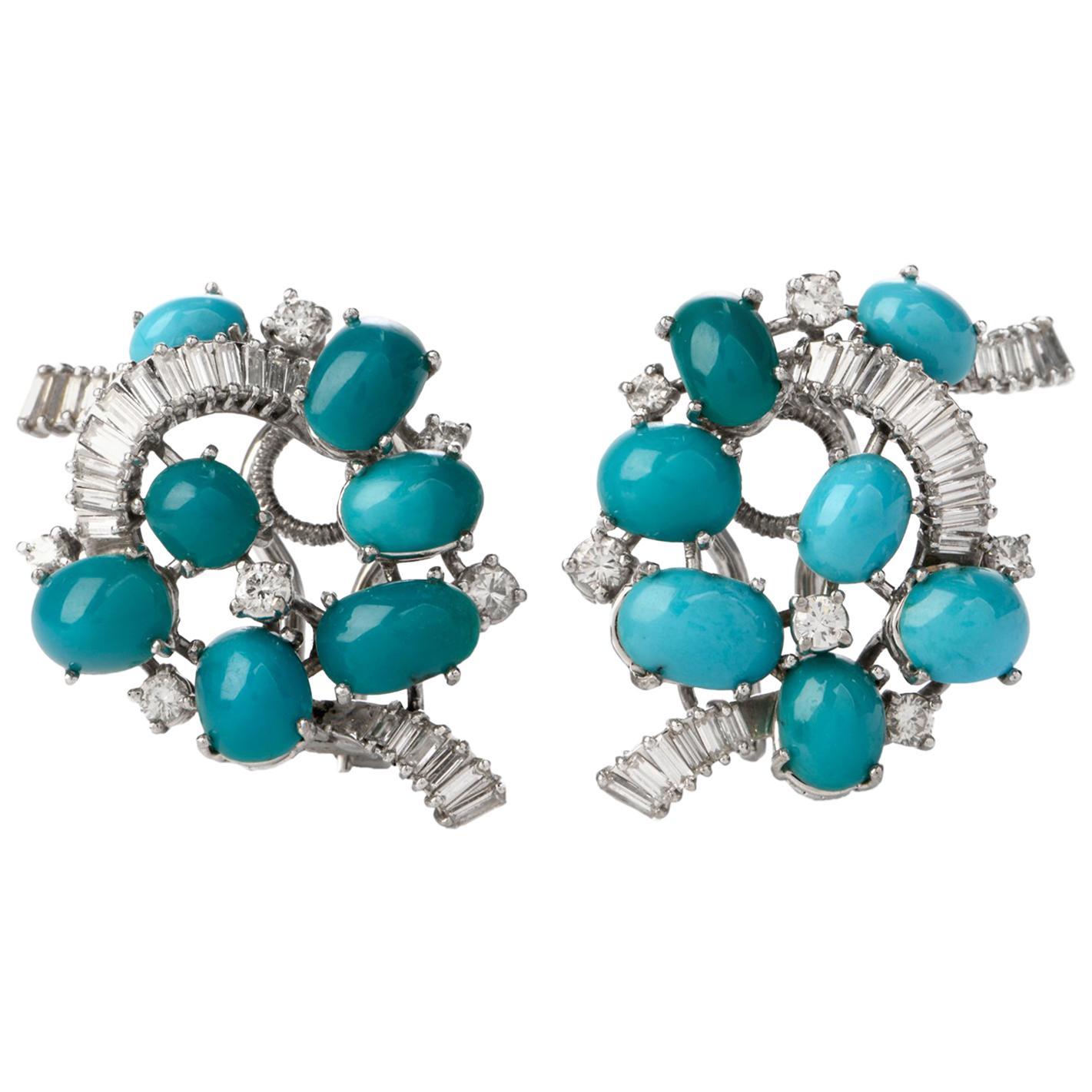 Gübelin Vintage Baguette Diamond Turquoise Gold Clip-On Earrings