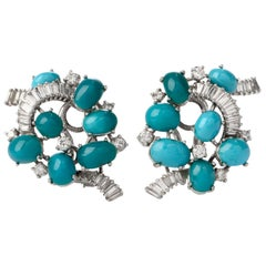 Gübelin Vintage Baguette Diamond Turquoise Gold Clip-On Earrings