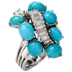 Gübelin Vintage Baguette Diamond Turquoise Gold Cocktail Ring