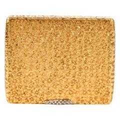 Vintage 1960s Floral Diamond 18 Karat Gold Compact Box