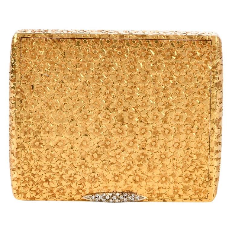 Vintage 1960s Floral Diamond 18 Karat Gold Compact Box For Sale