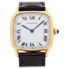 Cartier Cushion Shaped 18 Karat Yellow Gold Watch, 2010s