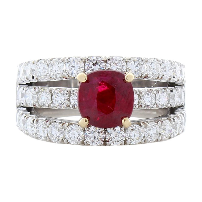 GRS Certified 2.01 Carat Cushion Vivid Red Ruby and Diamond Cocktail Gold Ring