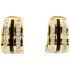 Bernard Passman Black Coral and Diamond Earring in 18 Karat Yellow Gold