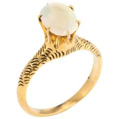 Antique Victorian Opal Ring Vintage 14 Karat Yellow Gold Estate Jewelry