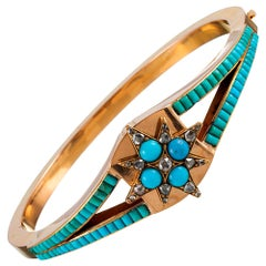 Victorian Turquoise and Diamond Bracelet with Star Motif